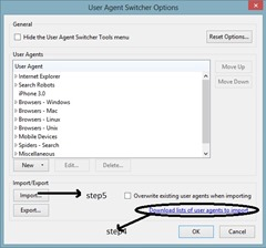 importing of user agents