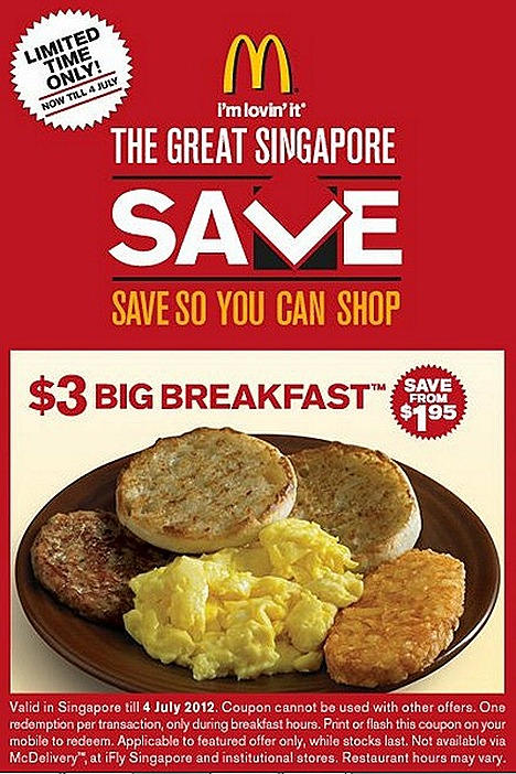 MCDONALDS Big Breakfast $3 McSpicy Chicken Burger $3 Chicken McBites 20 piece $2  hash brown scrambled eggs sausage mcmuffin coffee tea french fries apple pir sundae cones happy meal toy sale offe