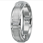If William wants something fashion-forward, this Ritani men's 6mm diamond wedding band features a satin finish and pairs of channel-set diamonds.