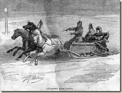 Le départ de Napoléon avec Caulaincourt en traineau