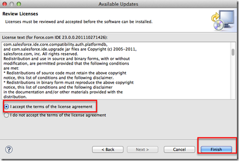 force.com ide upgrade license terms dialog