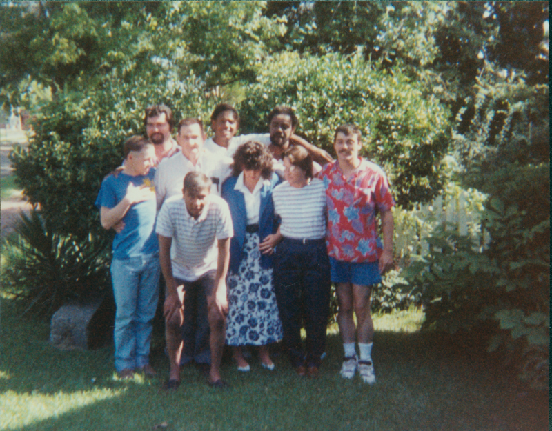 The newly married couple and their friends, including Edgar Sandifer. 1989.