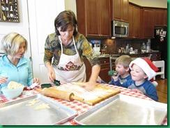 Grandma rolling dough