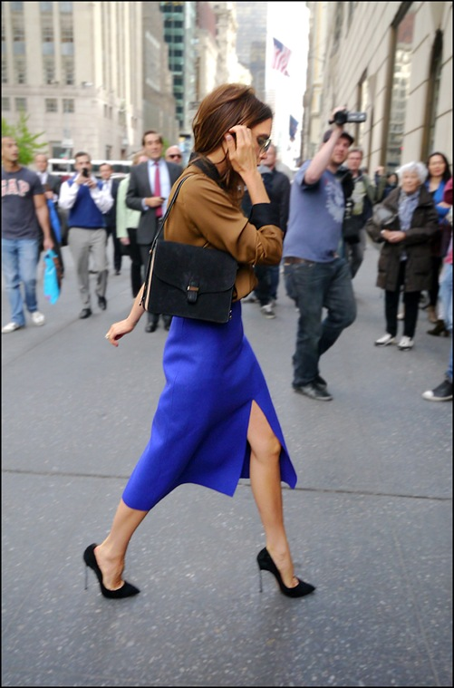 victoria beckham brown shirt with black collar and cuffs blue high waist long slit skirt 3 ol