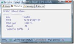 صفحة من برنامج connectme لمعرفة كافة الإحصائيات عن الشبكة التى أنشأتها
