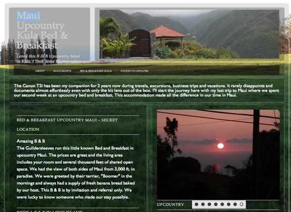 Maui Kula B & B website
