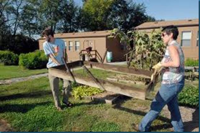 giving help in garden