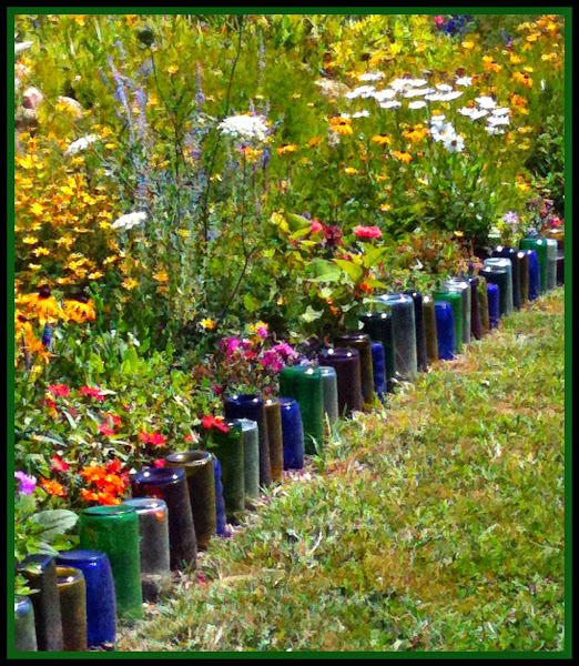 Glass Bottles Border Flower Bed Flower Bed Borders