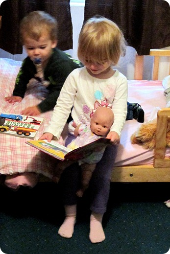 Elaine reading to Betsy