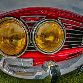 by Dragan Rakocevic - Transportation Automobiles ( lights, red, alfa romeo, old car, vintage car, yellow )
