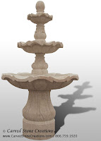 3-Tiered Scalloped Fountain, D54 x H96, Giallo Fantasia Y Granite