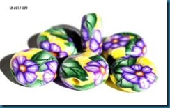 Purple flower coin beads