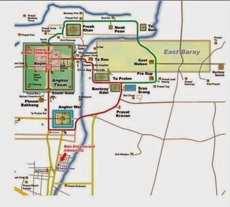 Mapa de rutas en Angkor