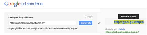 Acortador de URL de Google
