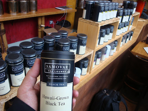 In San Francisco, a shop/cafe selling Hawaii tea (not from our farm, yet)
