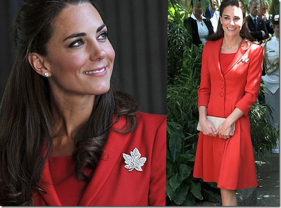Kate Middleton deep red coat dress designed by Catherine Walker