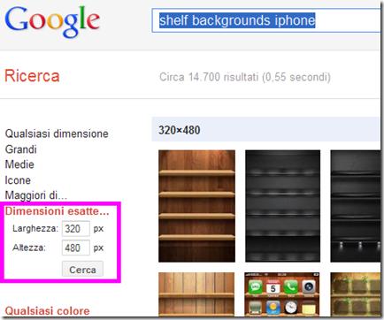 Cercare sfondi scaffale per iPhone, iPod touch e iPad su Google Immagini