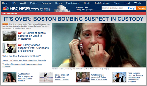 The home page of the NBC News site from Friday evening, April 19th 2013.