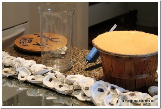 a walk in the countryside - diy oyster candle holder