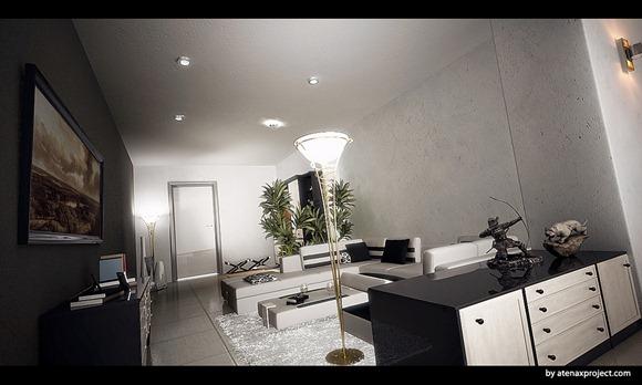 Sala veneciana con paredes de color gris oscuro