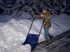 Derron scooping up that snow