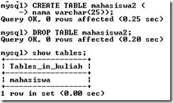 menghapus tabel di mysql