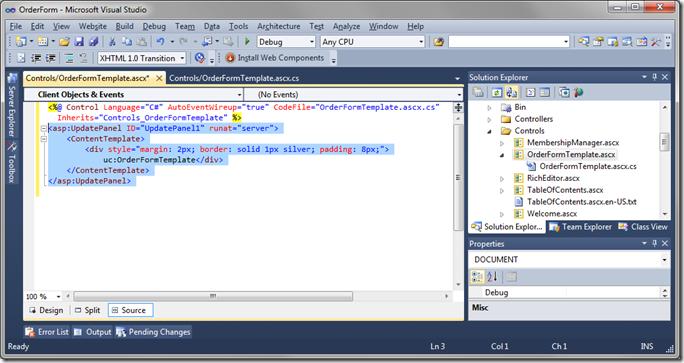 Default UpdatePanel in 'OrderFormTemplate'