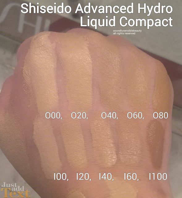 SHISEIDO ADVANCED HYDRO LIQUID COMPACT FOUNDATION SHADES, REVIEW, SWATCHES, O00, O20, O40, O60, O80, I00, I20, I40, I60, I100