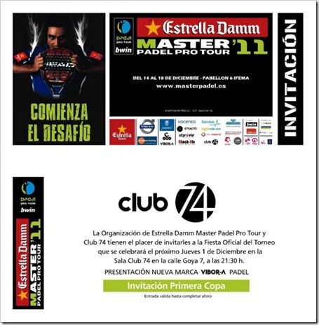 Fiesta Oficial Estrella Damm Master Padel Pro Tour 2011 en la Sala Club 74 de Madrid.