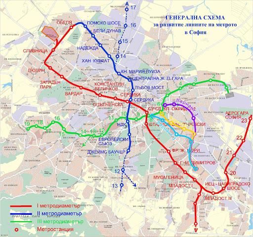 Възможни разклонения на метрото в София МД3
