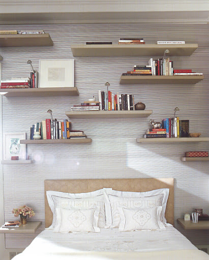 This whole arrangement of shelves (especially the ones used for bedside knickknacks) is so playful and sharp.