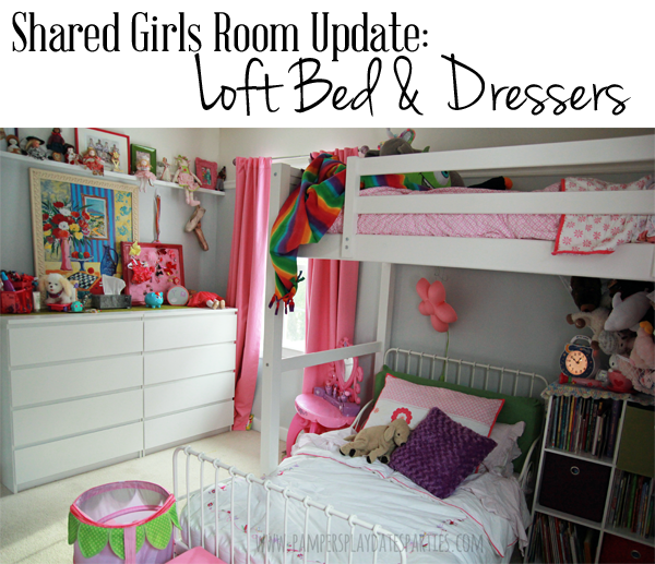 Shared Girls Room Loft Bed and White Dressers