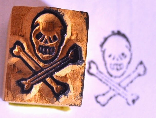 Wooden Block Skeleton Stamp