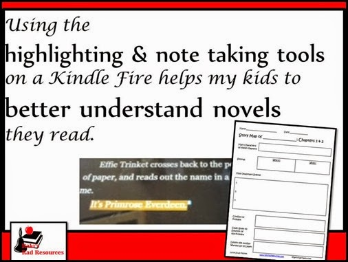 Using the highlighting and note taking tools on a kindle fire has helped my child to better understand the novels he reads.  He uses the highlighting tool to help him think better about what he reads.  Curriculum suggestions from Raki's Rad Resources.
