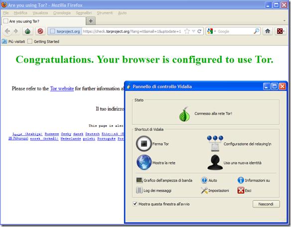 Firefox portable di Tor e il Pannello di controllo Vidalia
