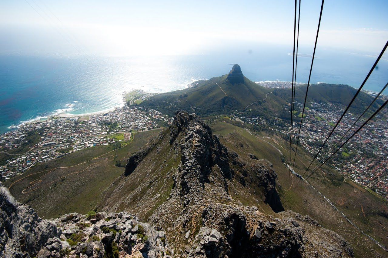 Looking up at Table Mountain from the cable car