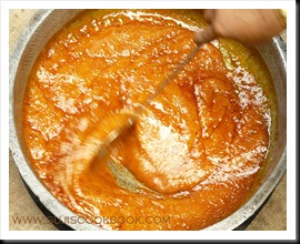 Making the jaggery syrup