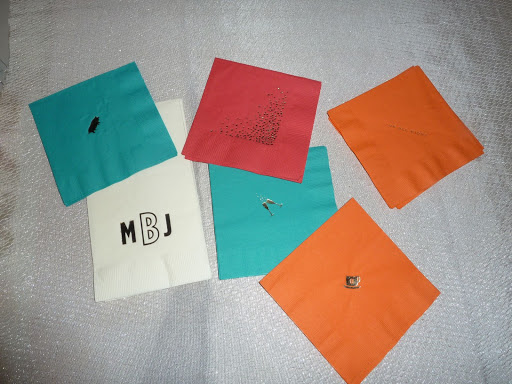 All of the napkins were printed by ForYourParty.com. The icons corresponded to the invitation suite. They were used throughout the weekend, at the rehearsal, wedding, and Sunday brunch.