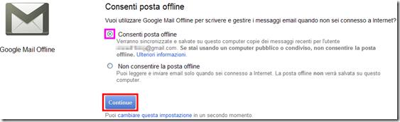 Consenti posta offline Offline Google Mail