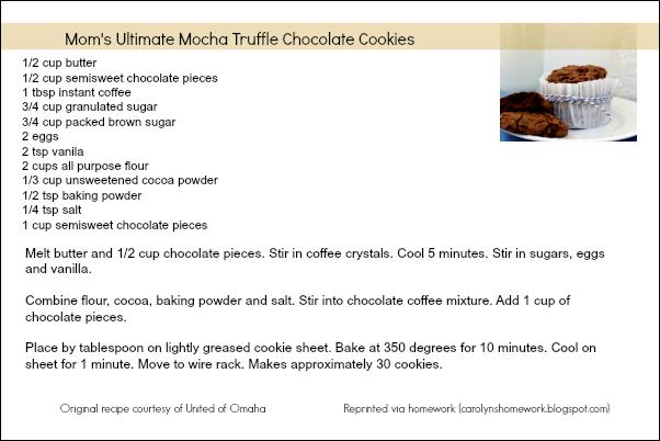 Mocha Truffle Chocolate Cookie Recipe Card