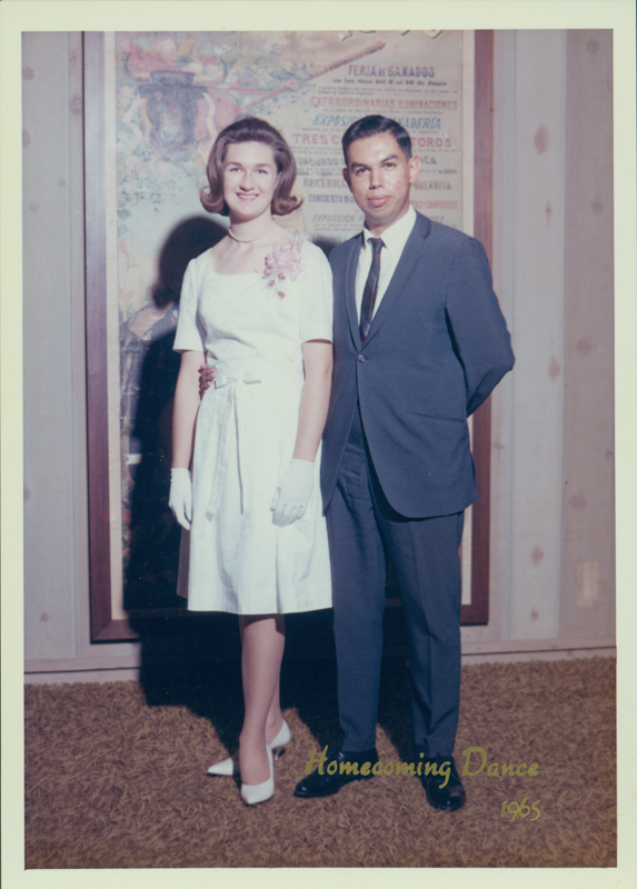Lynn Edward Harris with her date at homecoming dance. 1965.