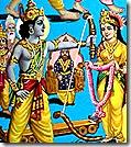 Rama breaking Shiva's bow