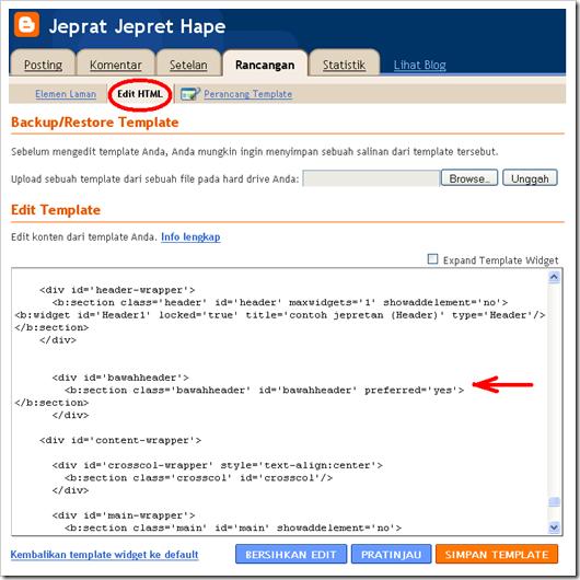 kode HTML elemen gadget dibawah header 2