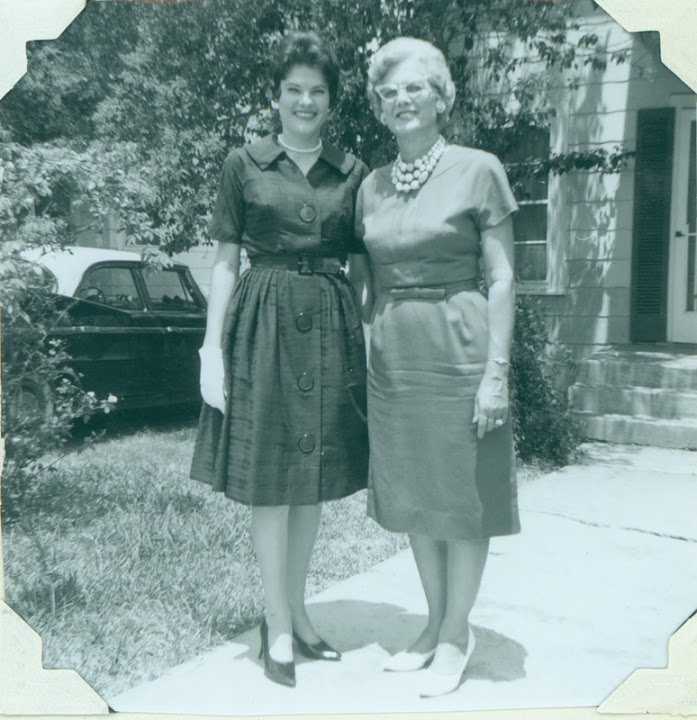 "Carolyn Weathers with her mother, Alida Weathers. Album caption reads: ""I moved back to my beloved San Antonio. Moved in with Brenda and Anita on Claremont. Mother came to visit us.""  From Carolyn Weathers: ""This was the first Easter since Daddy's death in August 1961.  Brenda and I took Mother to a church for Easter Sunday Service. What Mother did't know was that Brenda and I had to find the church in the Yellow Pages."" August 1962."
