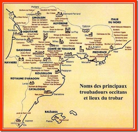 mapa dels Trobadors en Euròpa