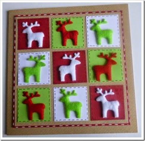 Felt Reindeer. Nine Square Nordic Style Christmas Card