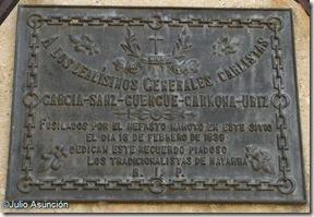 Placa a los militares carlistas fusilados en la Basílica de la Virgen del Puy