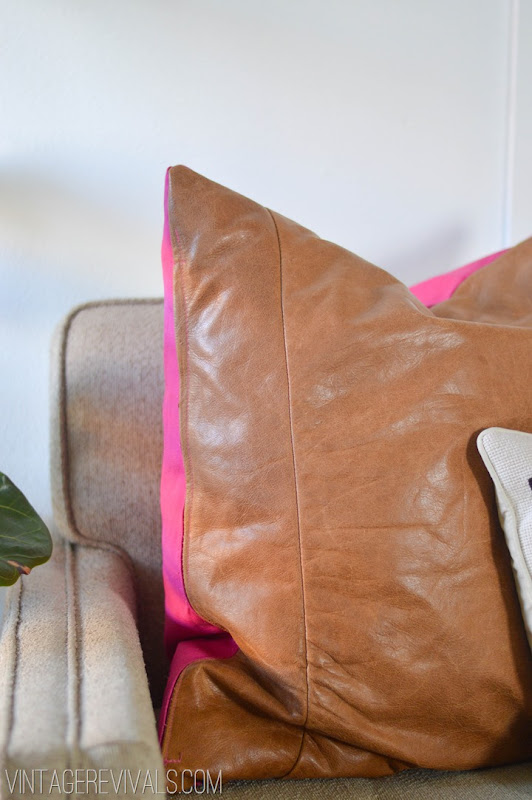 DIY Leather Pillow Tutorial vintagerevivals.com-8