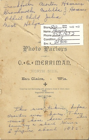 Cabinet Card 1882 Hammes Wadena Flea Market back