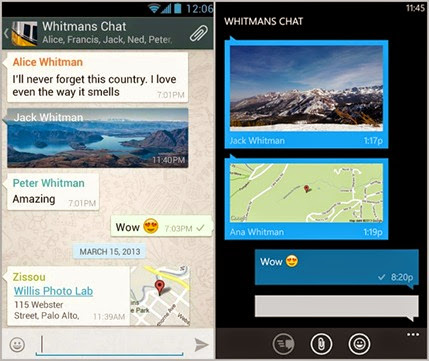 WhatsApp no Android e Windows Phone